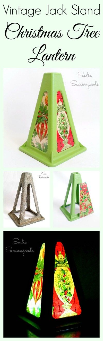 """A vintage jack stand looks pretty industrial and grungy...but with a little paint and some pretty retro wrapping paper can be repurposed into a funky, pretty Christmas lantern! LED lights illuminate the gift wrap, and the natural tree shape make it a perfectly unique Christmas """"tree"""" for a tabletop or small space. Fun, festive upcycling DIY craft project from #SadieSeasongoods / www.sadieseasongoods.com"""