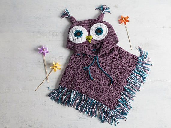 Crochet Pattern for Hooded Owl Poncho – Hooded Owl Poncho Crochet Pattern – Hooded Owl Poncho Crochet PATTERN by MJ's Off The Hook Designs