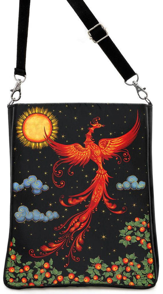 Beautiful firebird print on shoulder bag. Etsy listing at https://www.etsy.com/listing/180509851/the-firebird-russian-fairytale-large