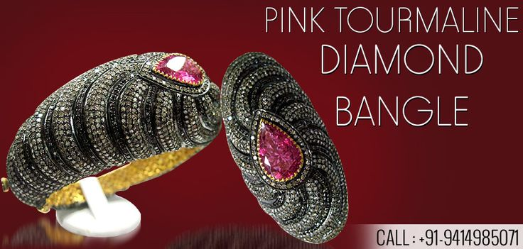 Eye Catching Pink Tourmaline Diamond Bangle