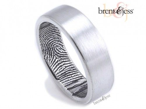 Her fingerprint his ring! The Original Fingerprint Wedding Band - by Brent & Jess Custom Handmade Fingerprint Wedding Rings and Jewelry