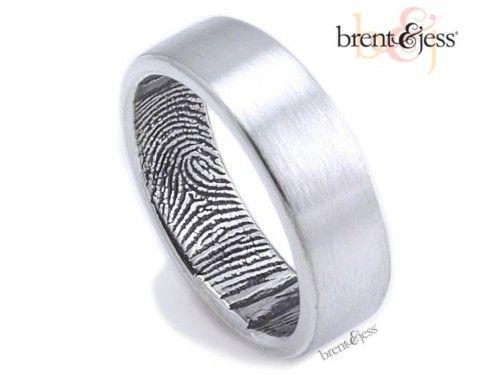 Her fingerprint his ring!  The Original Fingerprint Wedding Band - by Brent & Jess Custom Handmade Fingerprint Wedding Rings and Jewelry