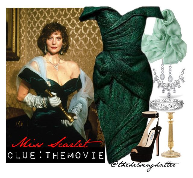 """""""Clue The Movie: Miss Scarlet with the candlestick"""" by thehelsinghatter ❤ liked on Polyvore featuring Bling Jewelry, Harry Kotlar, Effy Jewelry and Prada"""