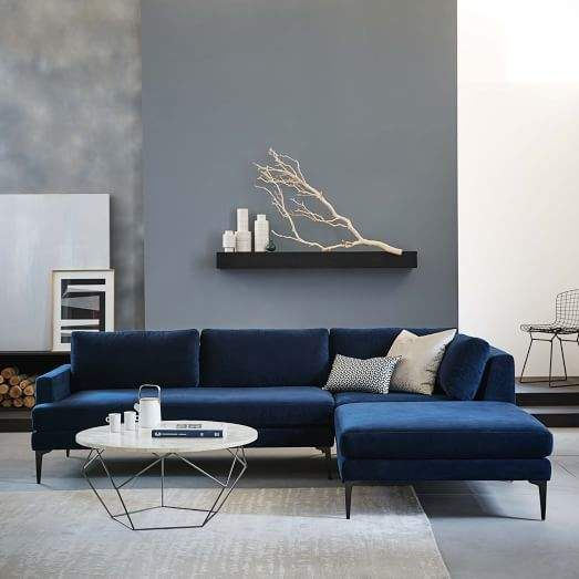West Elm Andes 3 Piece Chaise Sectional Ink Blue Performance Velvet Blue Couch Living Room Blue Sofas Living Room Blue Sofa Living