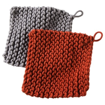 Threshold™ Knit Pot Holder Set $9.99. If this is handknit, who knit it? What did they get paid?