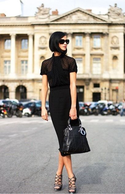 sophisticated look: Black Outfits, All Black, Leigh Lezark, Street Style, Leighlezark, Pencil Skirts, Little Black Dresses, The Dresses, Dior Bags