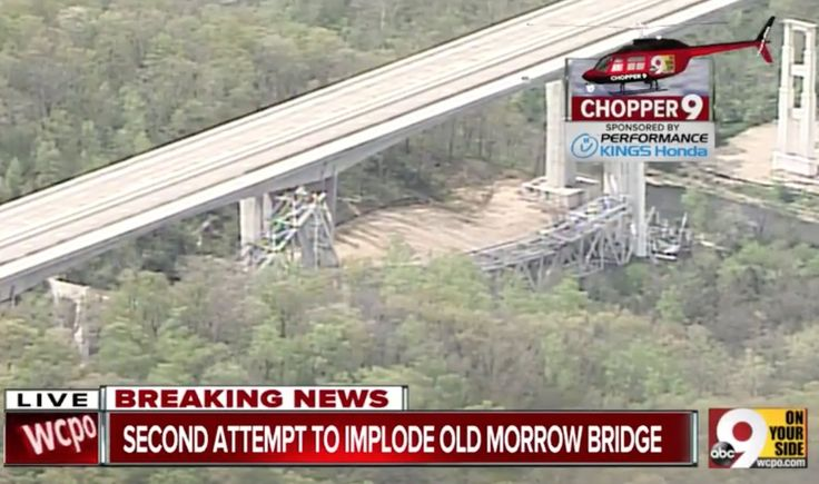 SUCCESS: ODOT says second attempt at implosion of old Jeremiah Morrow Bridge worked!