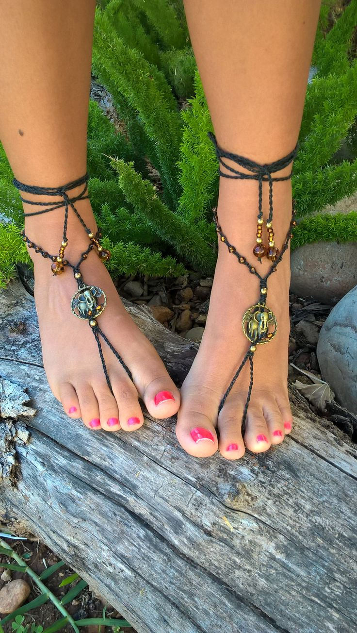 African Goddess Barefoot Sandals, Macrame Barefoot Sandals, Elephant Beaded Barefoot Sandals, Bohemian Sandals, Hand made in South Africa by AhyokaByBernice on Etsy