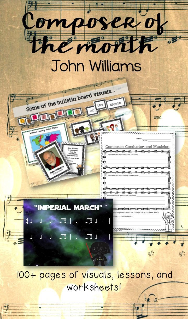 Composer of the Month: John Williams--tons of visuals, lessons, and bulletin board visuals to study his music!