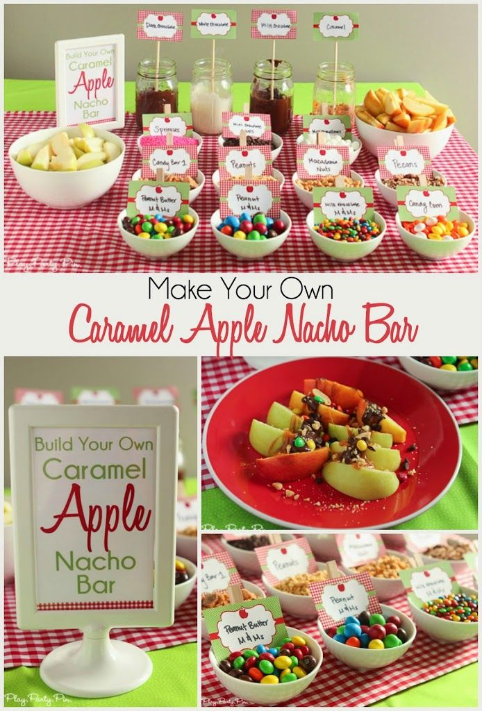 The cutest apple party ideas including everything from mason jars filled with apple candies for favors to different types of apple themed food and drinks! I especially love the caramel apple nachos bar and fun games, activity ideas for kids, and decorations! The perfect fall party theme!
