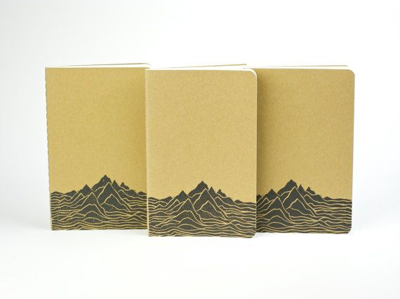 Mountain Range print on a Travel journal. Small journal with inner pocket. 山 Mt. Notebook. Camping Journal
