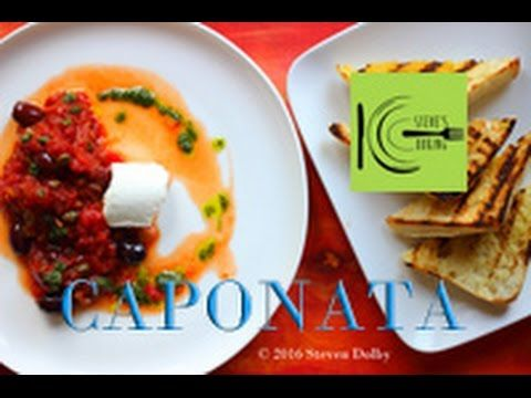 Caponata with Smoky Eggplant and Goat cheese on Crusty Bread | stevescoo...