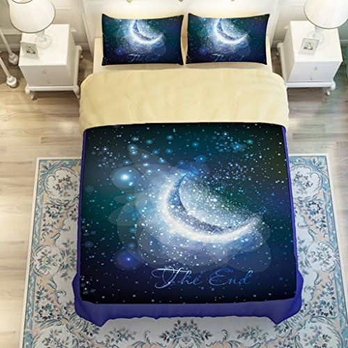 Beautiful Vast Universe Galaxy Moon And Stars Constellation Nebula Bedding Sets Twin Queen King Size Bed Linens Duvet Cover Set