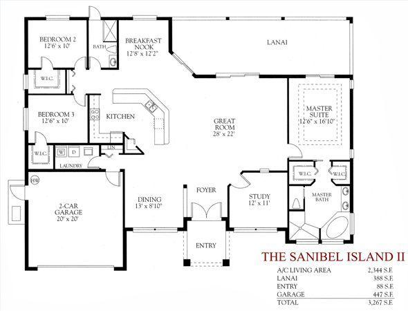 3 Bedroom 2 Bath Open Floor Plan One Level House Plans How To Plan Floor Plans
