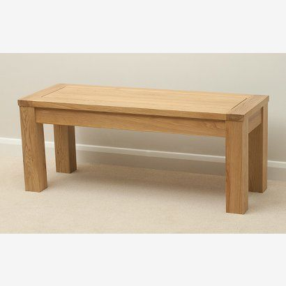 "Natural Solid Oak 3ft 7"" Bench"