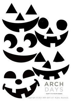 Halloween -ハロウィン -DIYジャックオーランタン -パンプキンフェイス -Printables -無料テンプレート ARCH DAYS