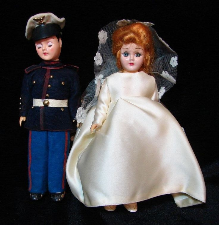 Shabby Marine groom and bride from years ago. groom in dress uniform with attention to detail. groom's head has a joint separation at neckline - see pictures. seperation between groom's head body. bride in off white ivory colored mantilla and gown. | eBay!