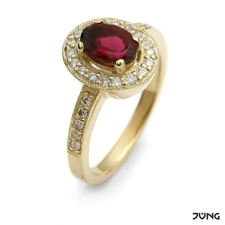 gold ring with tourmaline and 30 diamonds