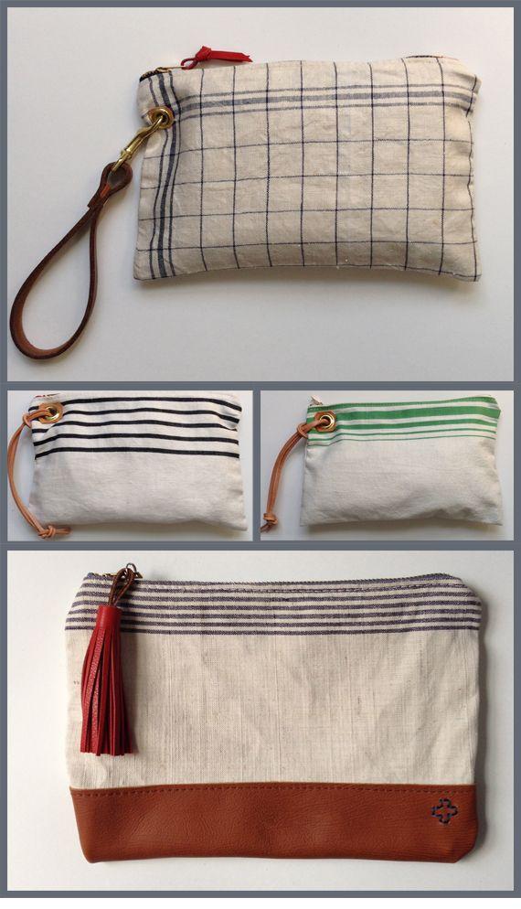 Vintage linen toweling makes great placement stripes