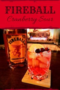 Fireball Cranberry Sour | Fall Cocktail Recipe: 1 ½ ounces Fireball Cinnamon Whisky, 3 ounces cranberry juice, ½ ounce lemon juice. Mix ingredients over ice and garnish with a slice of lemon and a cranberry skewer. Enjoy one at this Thanksgiving gathering.