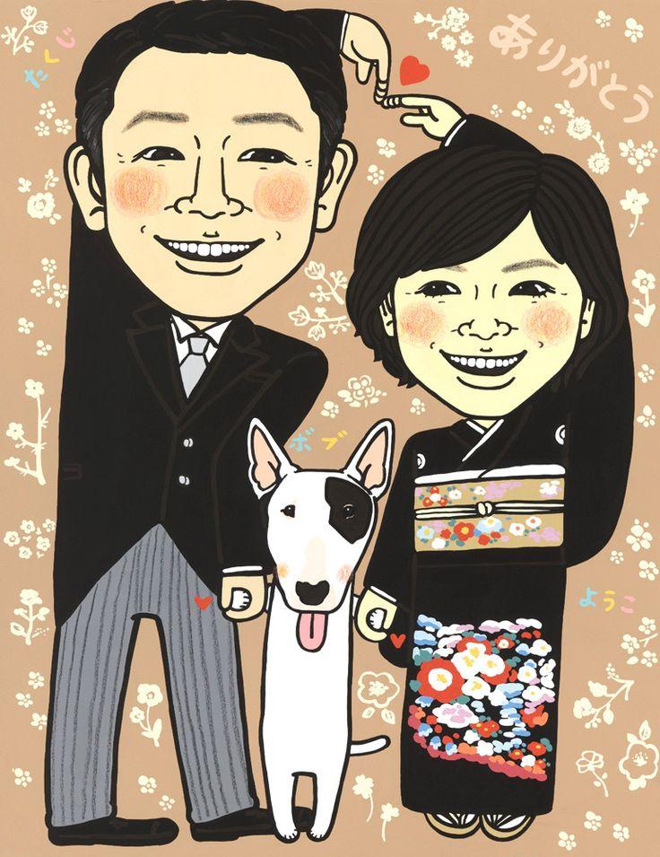 ぐりこの似顔絵ウェルカムボード #似顔絵#ウェルカムボード#結婚式#結婚準備#花嫁#ウェルカムスペース#インテリア#プレゼント#オーダーメイド#サプライズ#贈呈#贈り物#感謝#ありがとう#両親#親#夫婦#家族#犬#ペット#愛犬
