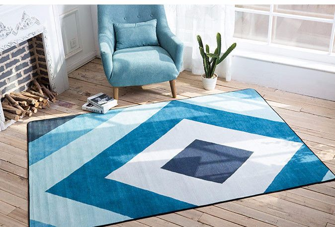 Contemporary Blue Grid Modern Area Rugs