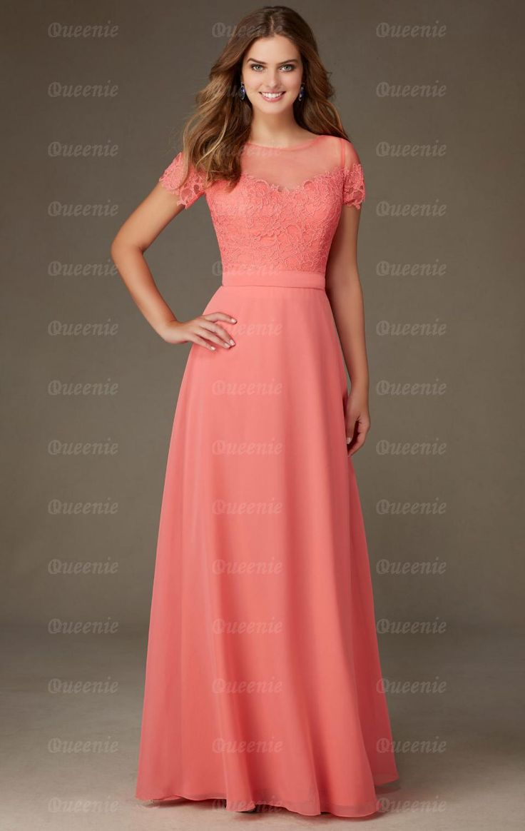 Buy cheap strapless floor length chiffon coral bridesmaid dress - Beteau Natural Short Sleeves A Line Zipper Floor Length Chiffon Bridesmaid Dresses With Lace Top