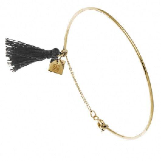 Bracelet jonc Pompon Zag Bijoux (gris)