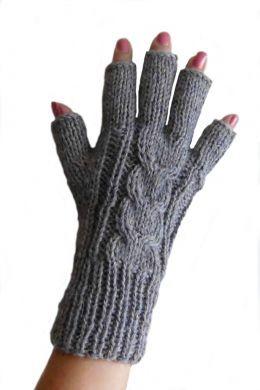 Dunkelgraue  fingerfreie Damen Handschuhe aus Alpakawolle, Handy Handschuhe