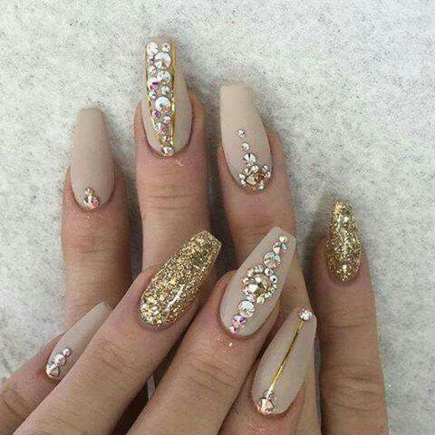 Gold nude rhinestone nails