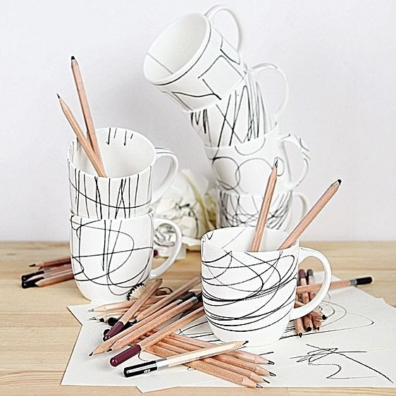 Cashmere Scribbles Mug, Diagonal Line by Maxwell & Williams