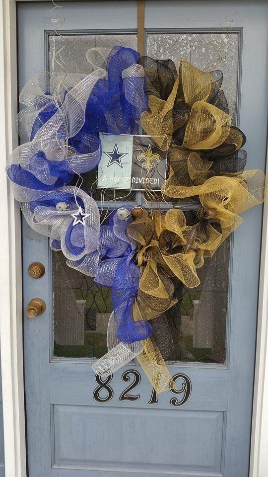 A house divided. Saints vs. Cowboys. Wreath.