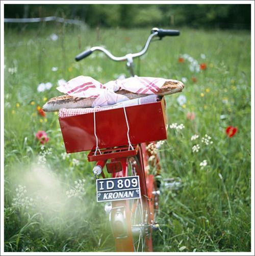 picnic time #bike #flowers: Bike Rides, Company Picnics, Bike Riding, Summer Picnics, Red Bike, Red Bicycles, Bicycles Picnics, Vintage Bike, Fields