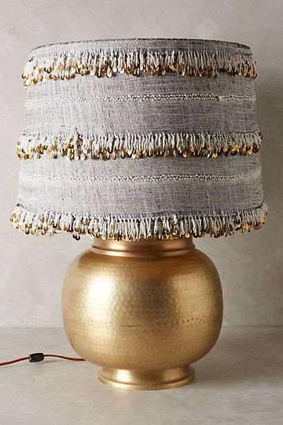 DIY-ABLE {USE THICK TRIM FROM THE FABRIC STORE TO WRAP A PLAIN WHITE LAMPSHADE) - Isobel Lamp Ensemble - anthropologie.com