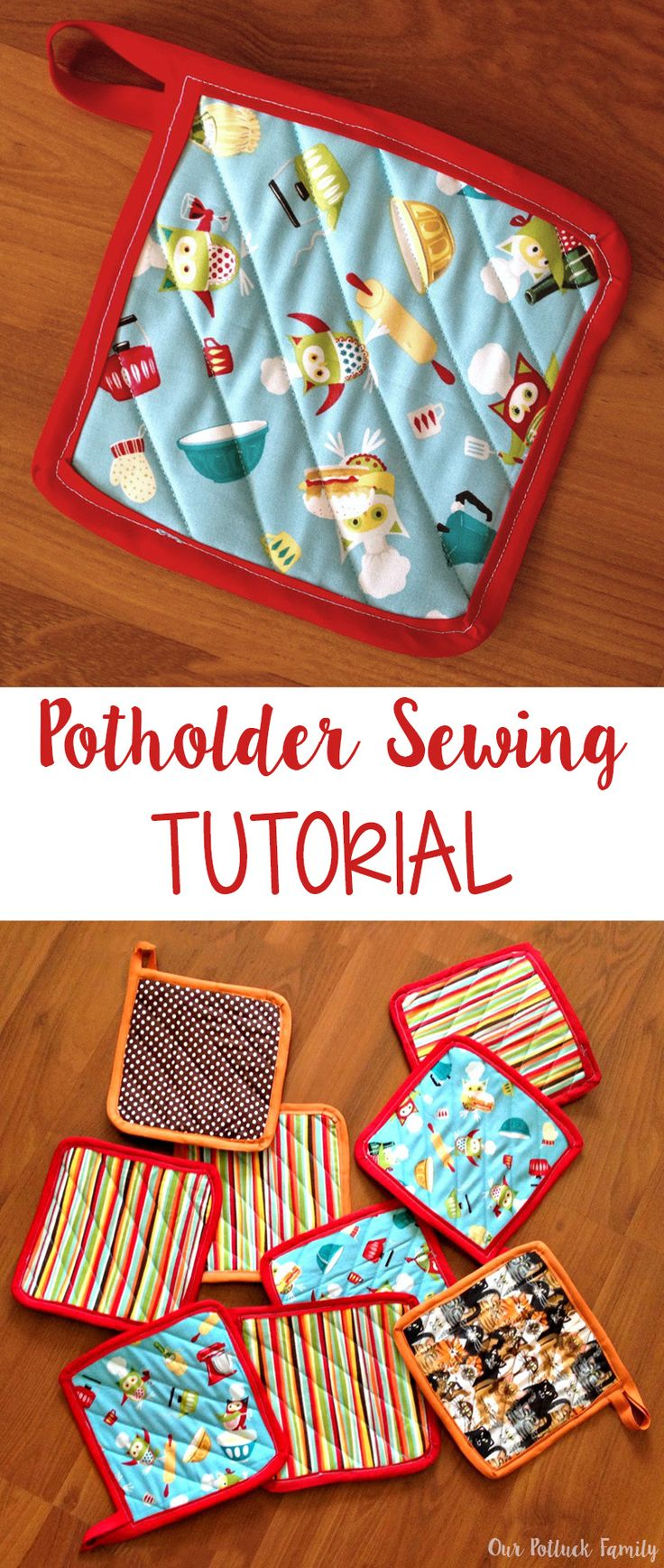 Step-by-step directions and images to sew a simple potholder.