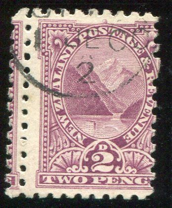 Stamps - Errors #326911 NZ Error 1900 Pict 2d Pembroke perf 11 with double perfs vertically at left, premium example dated 1900 ...