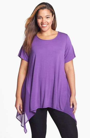 Evans Mixed Media Sharkbite Top (Plus Size) available at #Nordstrom