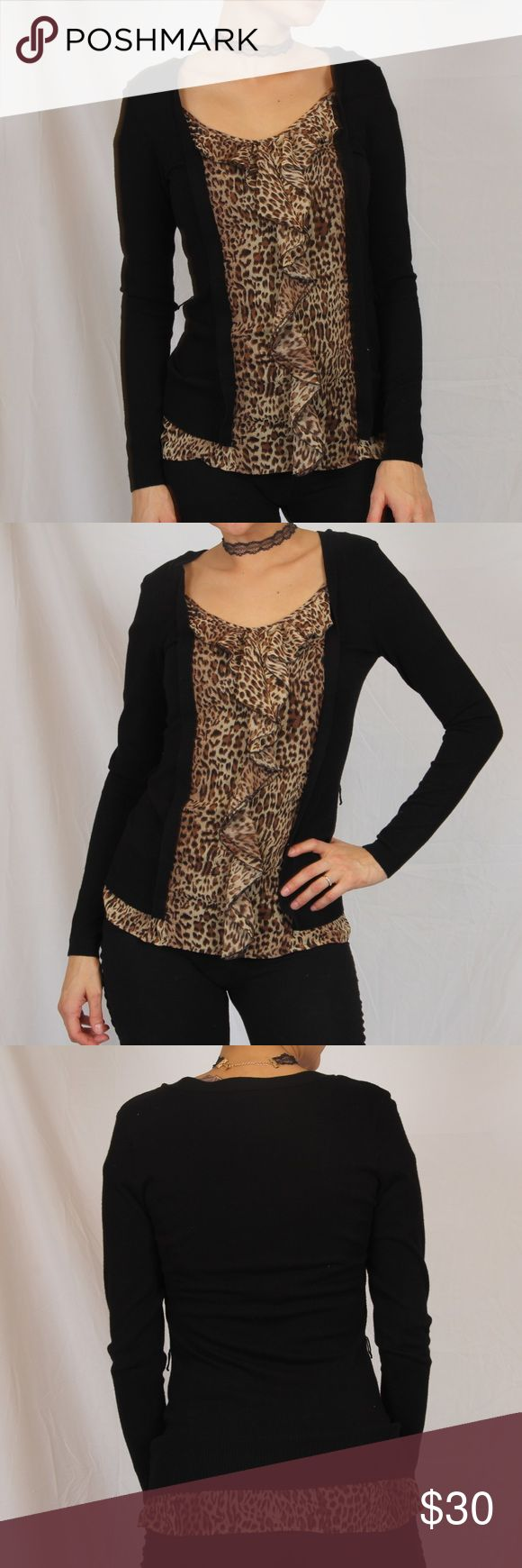 Women's blouse small INC International concepts Body 20% rayon 20% nylon Trim 100% polyester Made in China The blouse is black and longsleeved in front there is a leopard print with ruffles INC International Concepts Tops Blouses