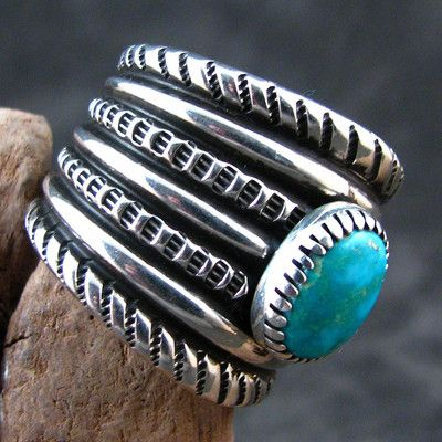 Navajo Harrison Jim Sterling Silver Hand Crafted Turquoise Mountain Ring