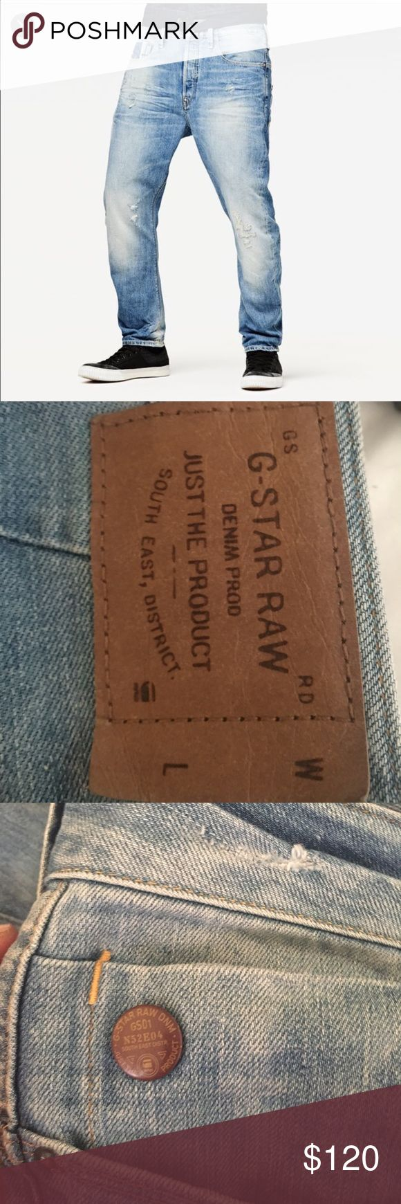 Type C 3D loose tapered g-star RAW jeans These jeans have been worn 2 times maybe. Freshly dry cleaned (though they can be washed in the normal wash) These were bought directly from a gstar shop for $170. 36x36 no imperfections. I took the last photo for color representation. G-Star Jeans Slim
