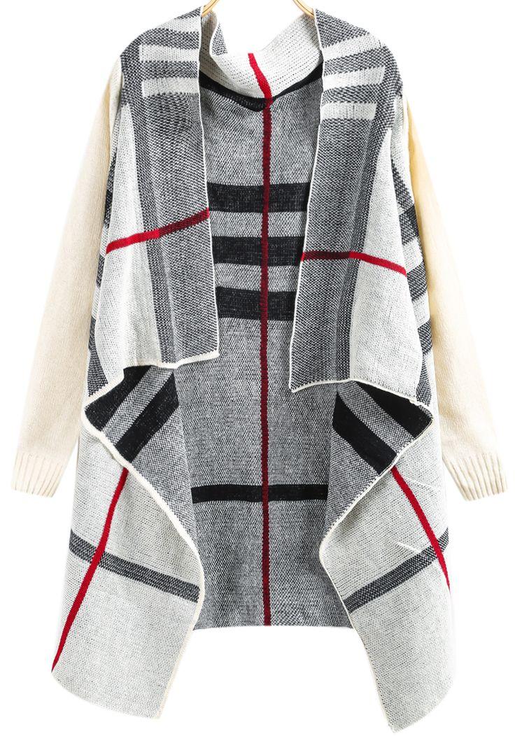 White Long Sleeve Plaid Knit Cardigan 22.33