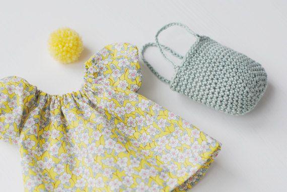 rag doll dress with crochet basket rag doll by pompondolls on Etsy
