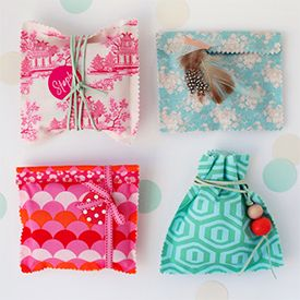 Wrap gifts with love. Gorgeous fabric gifts bags require NO SEWING and are easy and super fast to make.