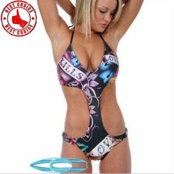 Sexy print Mode Badeanzug monokini