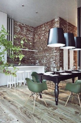 Green Chairs - 10 INDUSTRIAL DINING ROOM DESIGN - See more at: http://vintageindustrialstyle.com/industrial-dining-room-design/