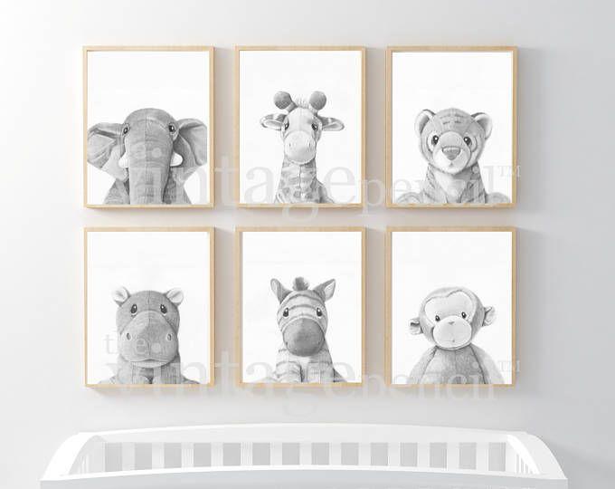 Kinderzimmer-Drucke, Kinderzimmer-Wand-Kunst-Set, Set von vier Drucke, Satz von 4, Monochrome Kindergarten, geschlechtsneutral, Neutral Kindergarten, Safari-Kinderzimmer-Kunst