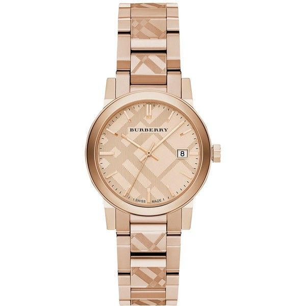 Burberry BU9146 Women's The City Date Bracelet Strap Watch, Rose Gold found on Polyvore featuring jewelry, watches, slim watches, polish jewelry, rose gold jewellery, rose jewelry and rose gold jewelry