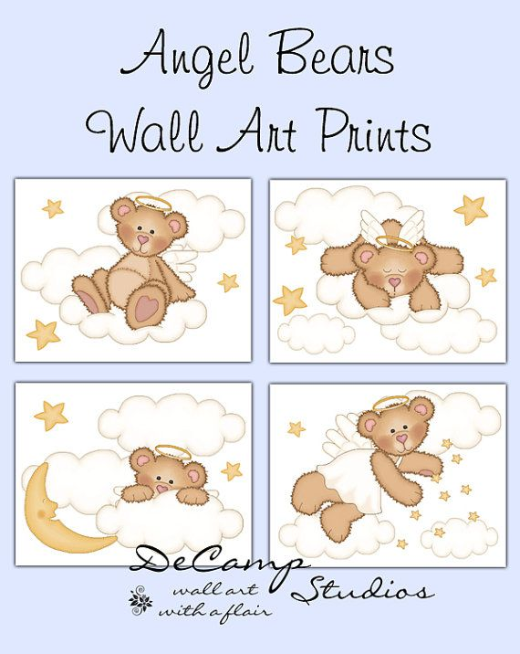 Angel Teddy Bear 8x10 Wall Art Prints for baby girl or boy nursery or any childrens bedroom decor. Adorable angelic bears decorated with clouds,