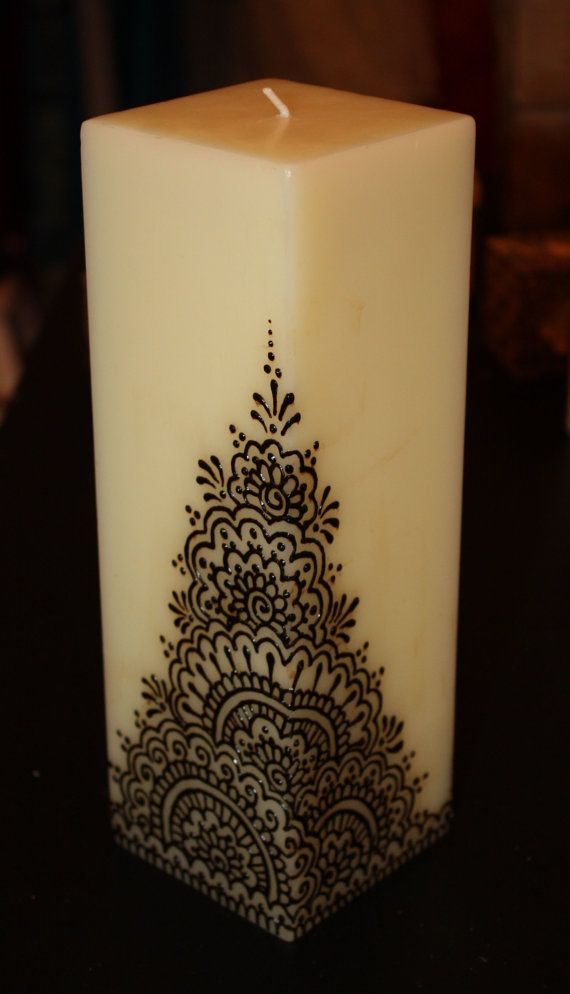 3x9 inch off-white cream square Henna Candle by NewWorldHenna