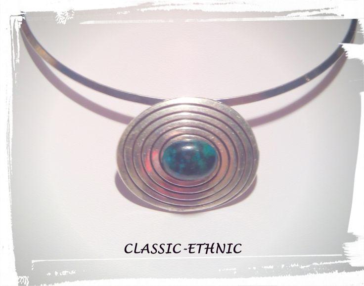 collier ethnique argent ras de cou cabochon avec une magnifique chrysocolle : Collier par classic-ethnic